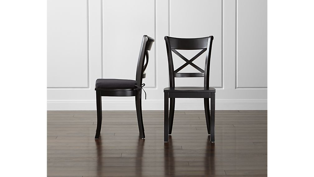 black side chair indoor swing with stand vintner wood dining and cushion crate barrel