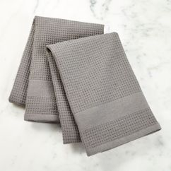 Gray Kitchen Towels Drop Leaf Table Chairs Waffle Terry Grey Dish Set Of 2 Reviews Crate And Barrel
