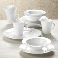 White Pearl 16-Piece Dinnerware Set | Crate and Barrel