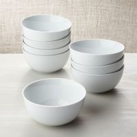 White Porcelain Cereal Bowls Set of 8 | Crate and Barrel