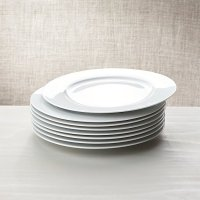 White Porcelain Dinner Plates Set of 8 | Crate and Barrel