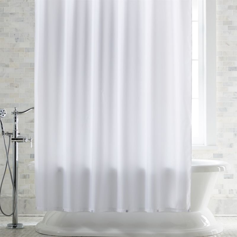 White Shower Curtain Liner with Magnets  Reviews  Crate