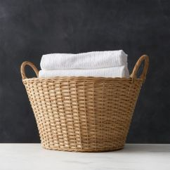 Beach Print Sleeper Sofas Sensational Memphis Hours Wicker Laundry Basket + Reviews | Crate And Barrel