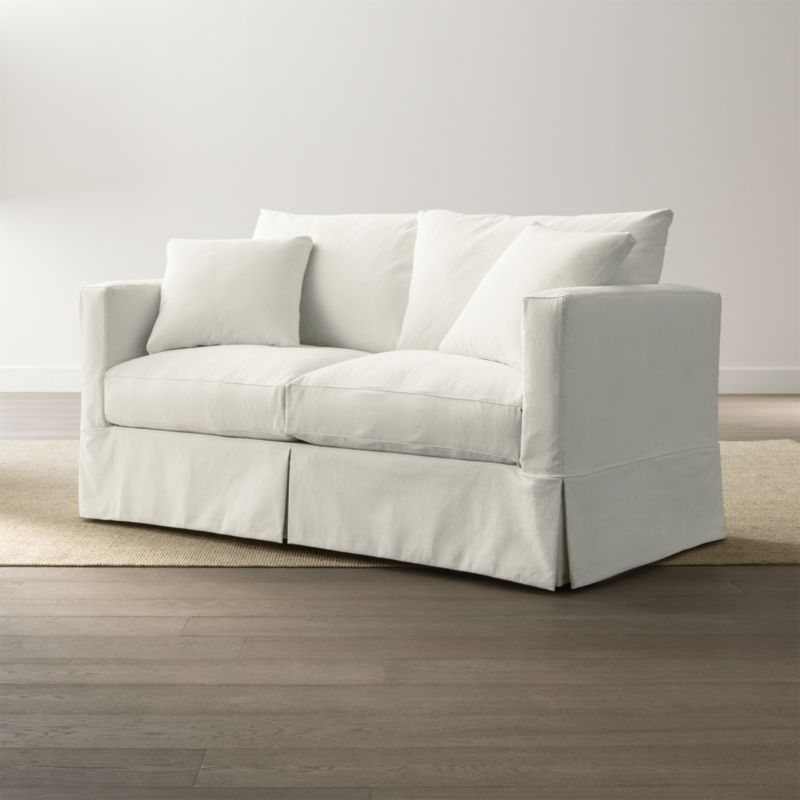 white sofa slipcover cotton with a pull out bed willow couch + reviews | crate and ...