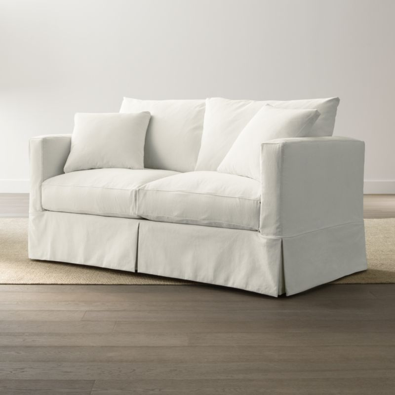 crate and barrel sleeper sofa with a chaise slipcover only for willow full deso: snow ...