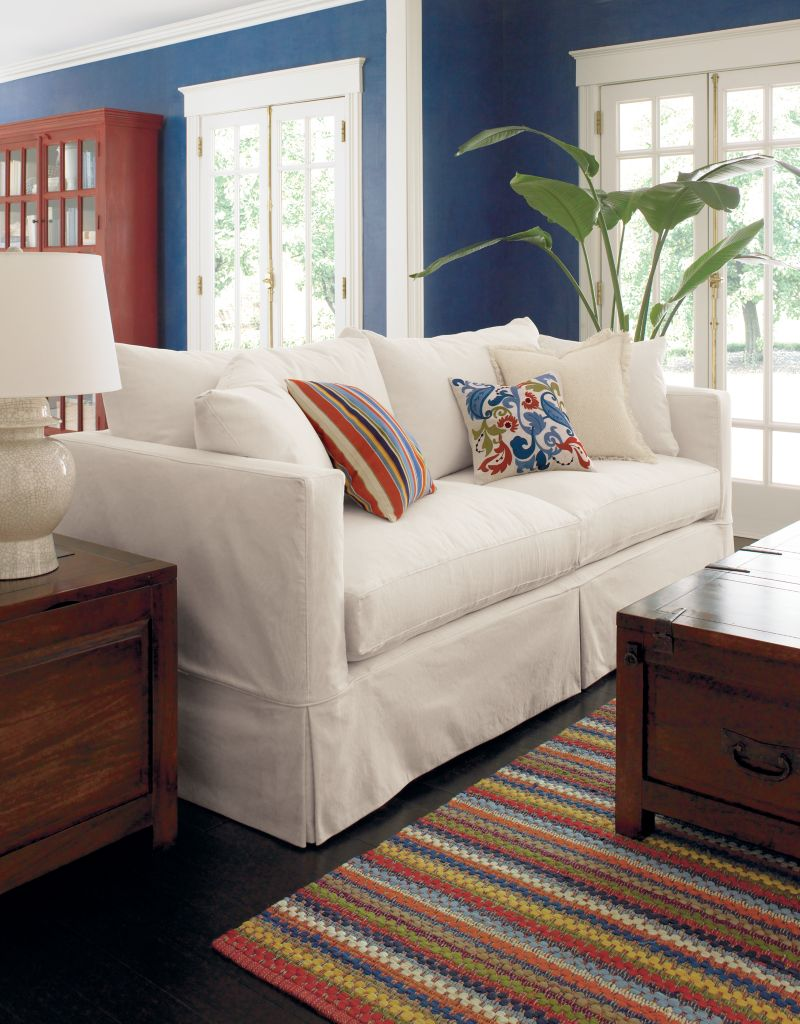 houzz leather sofa living room blue modern willow white sleeper couch + reviews | crate and barrel