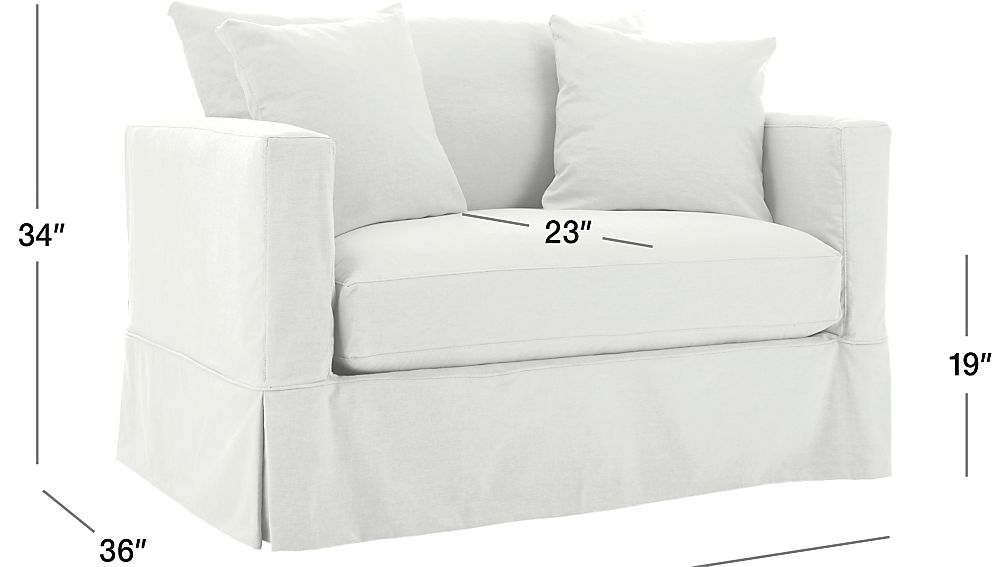 crate and barrel willow twin sleeper sofa replace cushions white slipcovered chair a half |