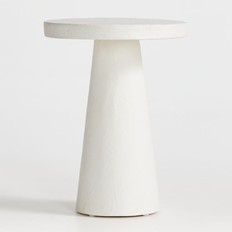 willy white plaster pedestal side table reviews crate and barrel