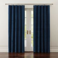 Windsor Blue Velvet Curtains | Crate and Barrel