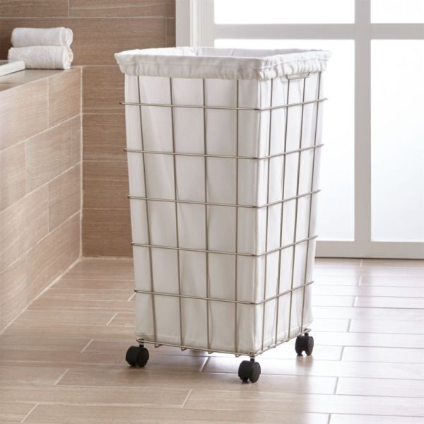 Nickel Wire Hamper With White Liner Set Crate