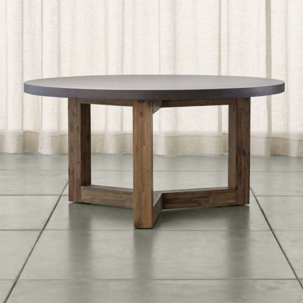 Woodward Dining Table With Solid Wood Base Crate