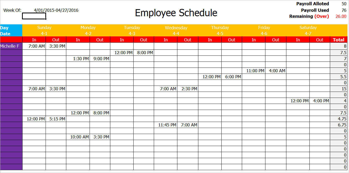Tax forms, wisconsin schedule u if you underpaid your estimated income taxes for the prior year, you need to file schedule u along with your other tax forms to ensure that you are up to date on your tax payment. 77 Work Schedule Templates Free Word Excel Pdf Formats