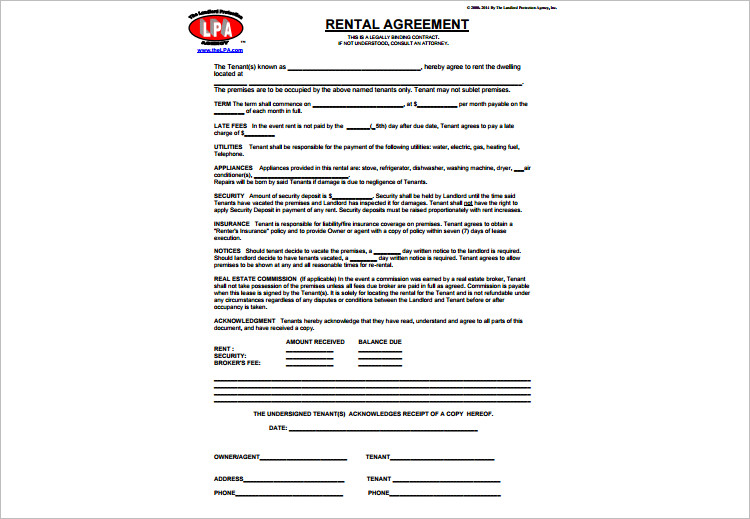 If you are looking for a basic, standard or simple rental agreement in a word document, there are many to choose from. 20 Free Rental Agreement Templates Doc Sample Formats