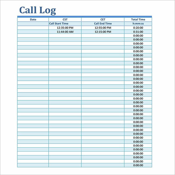The elements of a good manual call log include: 16 Call Log Templates Free Word Excel Pdf Formats