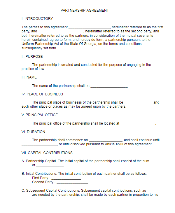 The contract is intended for example purposes only and provides general information. 21 Free Partnership Agreement Templates Word Pdf Format Samples