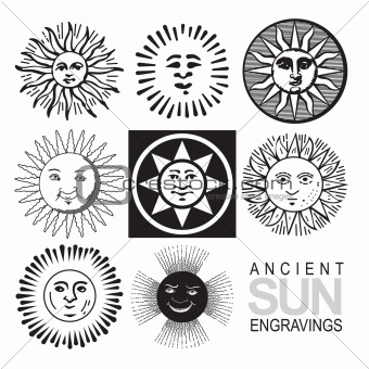 Image 2553844: set of antique sun engravings (vector) from