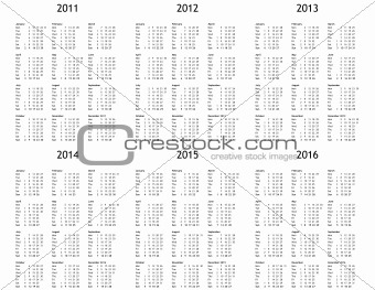 Image 2923041: Multi year calendar from 2011 to 2016 from