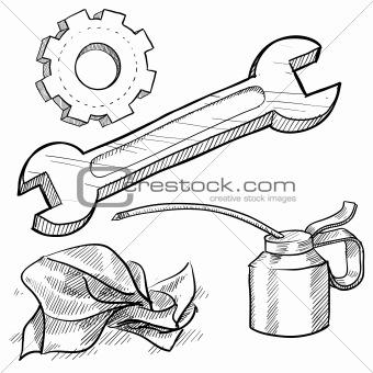 Image 4454306: Mechanic tools sketch from Crestock Stock