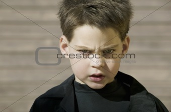 Close up of a boy with attitude