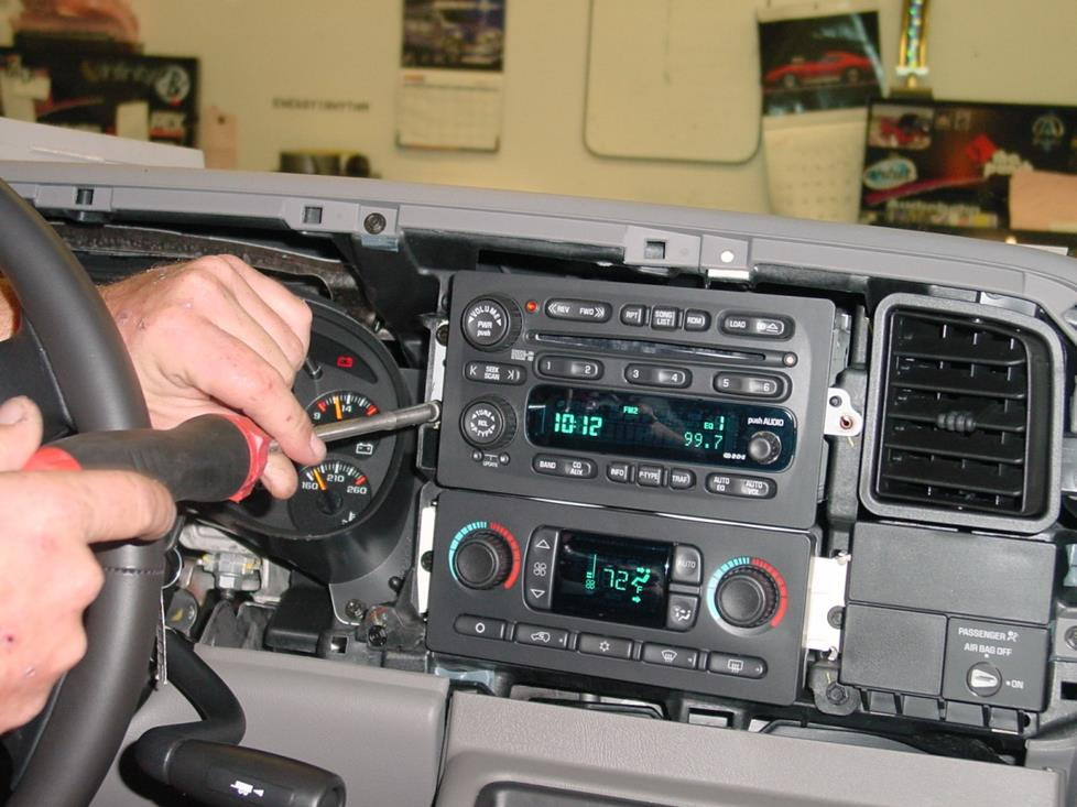 car stereo installation diagram 2003 dodge ram ignition wiring 2007 chevrolet silverado and gmc sierra extended cab dash trim removed