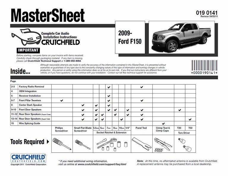 CRUTCHFIELD MASTERSHEET DOWNLOAD