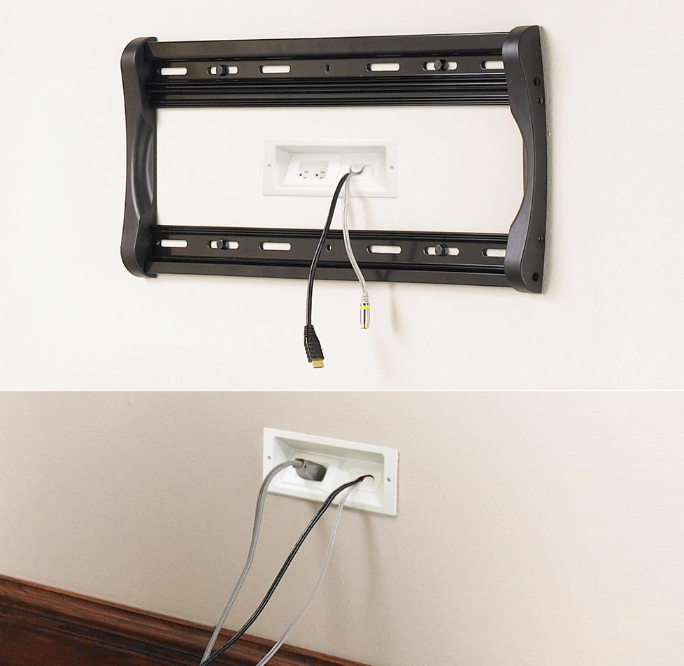 hight resolution of these plates are part of a kit that hides both signal and power connections for a wall mounted tv
