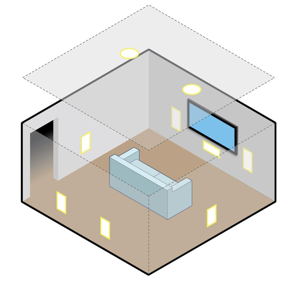 medium resolution of illustration of overhead in ceiling speakers in a surround system