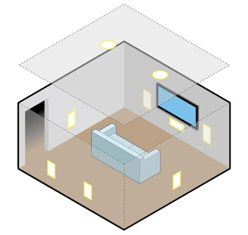 small resolution of illustration of overhead in ceiling speakers in a surround system