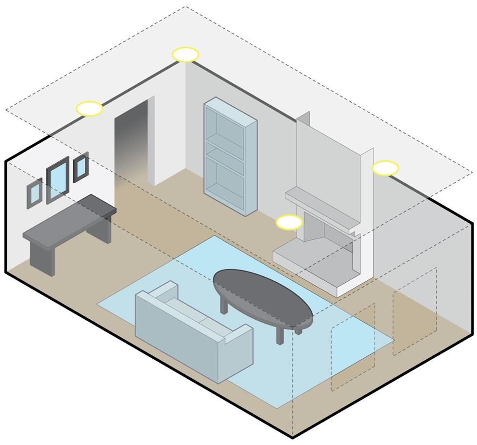 medium resolution of living room with two pairs of overhead speakers