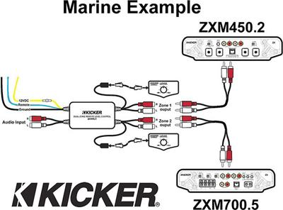 Kicker Marine Dual-zone Level Control Two volume controls