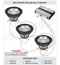 ron three dvc 2 ohm subs get wired to a mono amp capable of driving a 1 ohm load  [ 1275 x 1650 Pixel ]
