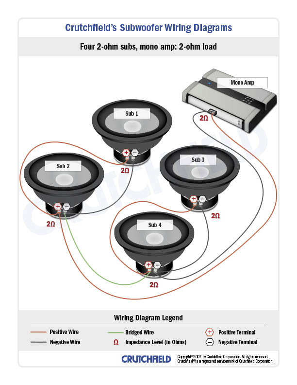 car sub and amp wiring diagram audiobahn aw1051t subwoofer diagrams how to wire your subs substitute coil for in the that s way you d 1 2 are wired together parallel so coils 3 4