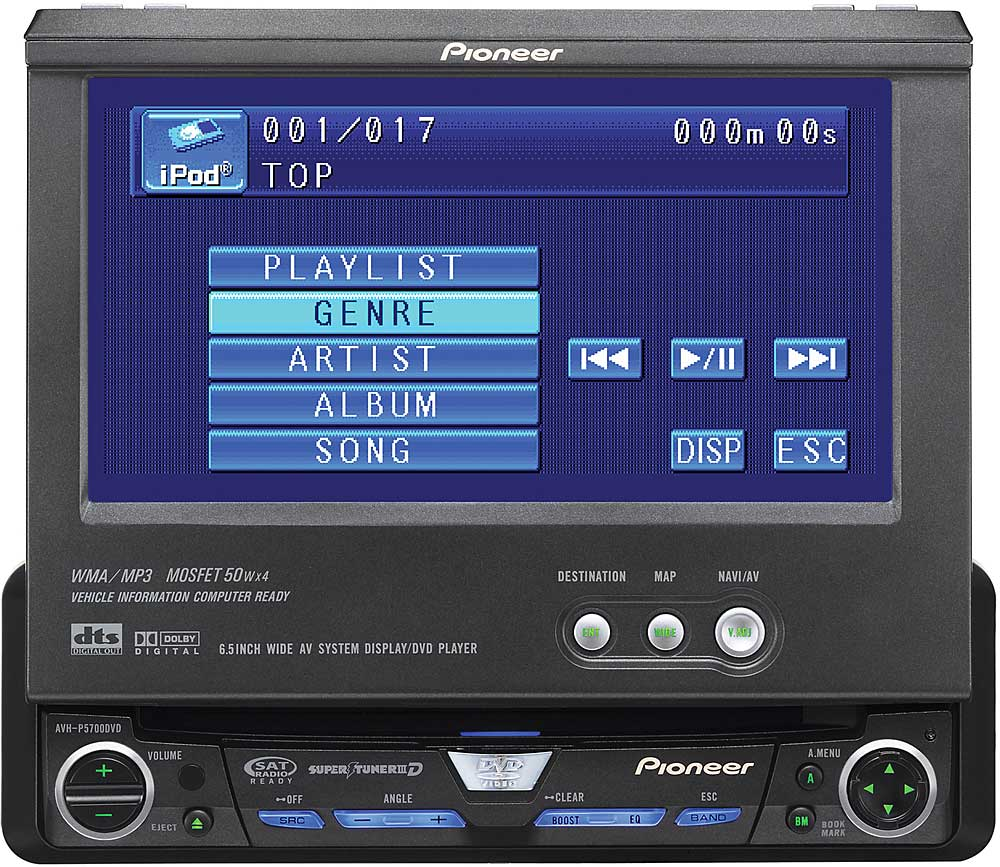 hight resolution of pioneer avh p5700dvd dvd cd receiver with 6 5 lcd monitor at crutchfield