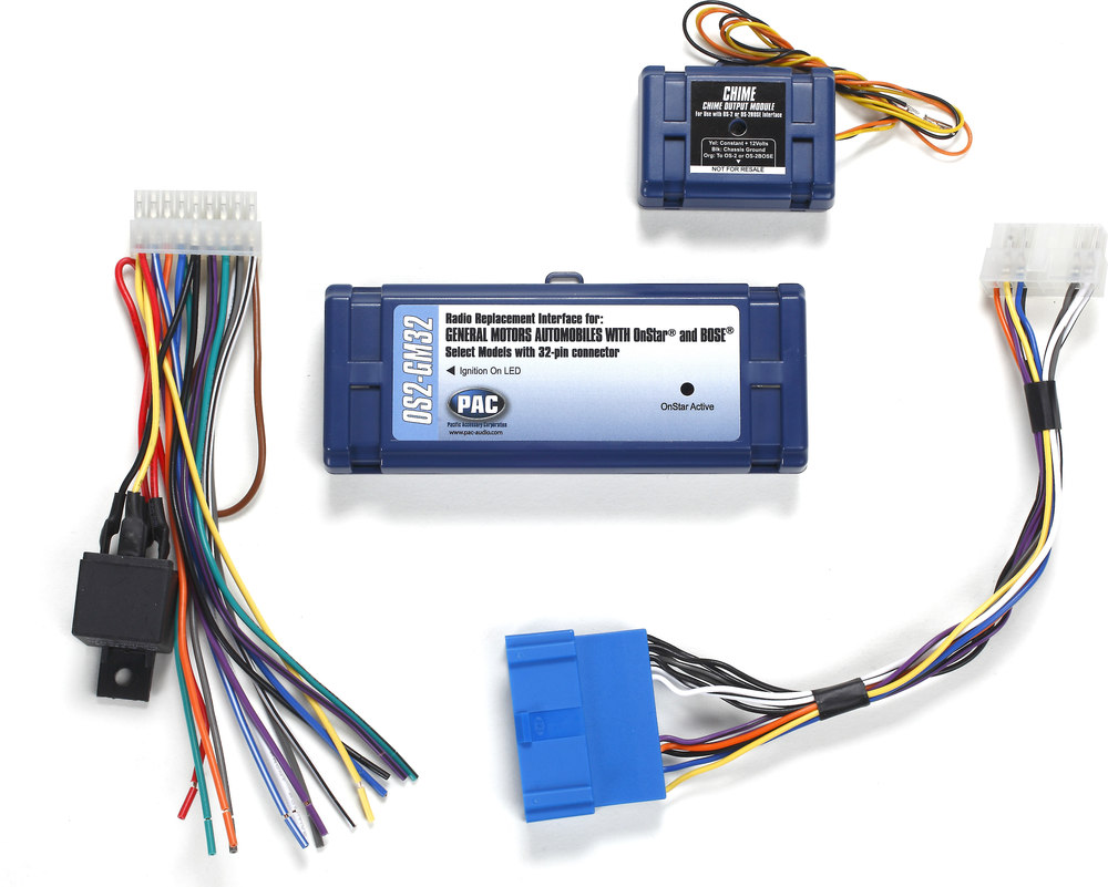 hight resolution of pac os2 gm32 wiring interface retains onstar bose amplifier and warning chimes when replacing factory radio in select 1996 2005 cadillac vehicles at