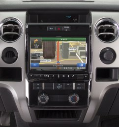 alpine x009 fd1 in dash restyle system navigation receiver custom fit replacement radio with 9 screen for select 2009 up ford f 150 models at  [ 1000 x 859 Pixel ]