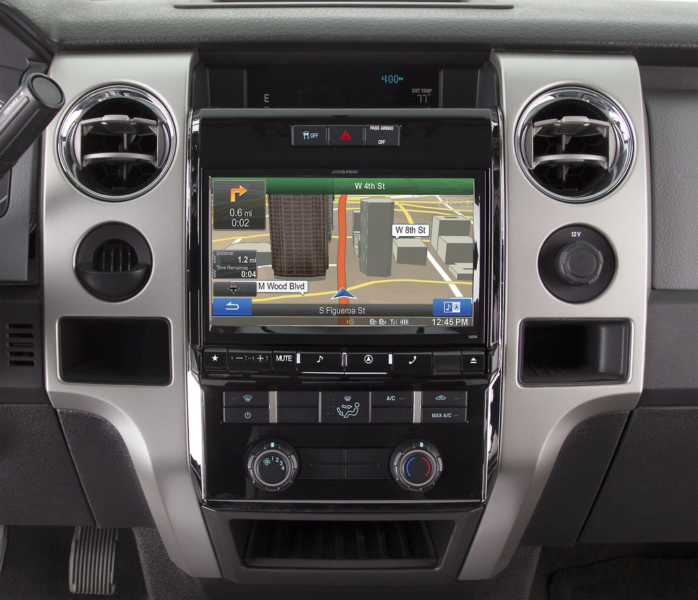 hight resolution of alpine x009 fd1 in dash restyle system navigation receiver custom fit replacement radio with 9 screen for select 2009 up ford f 150 models at