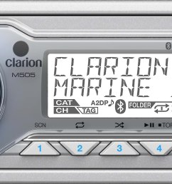 clarion m505 marine digital media receiver with bluetooth does not play cds at crutchfield [ 3460 x 1063 Pixel ]