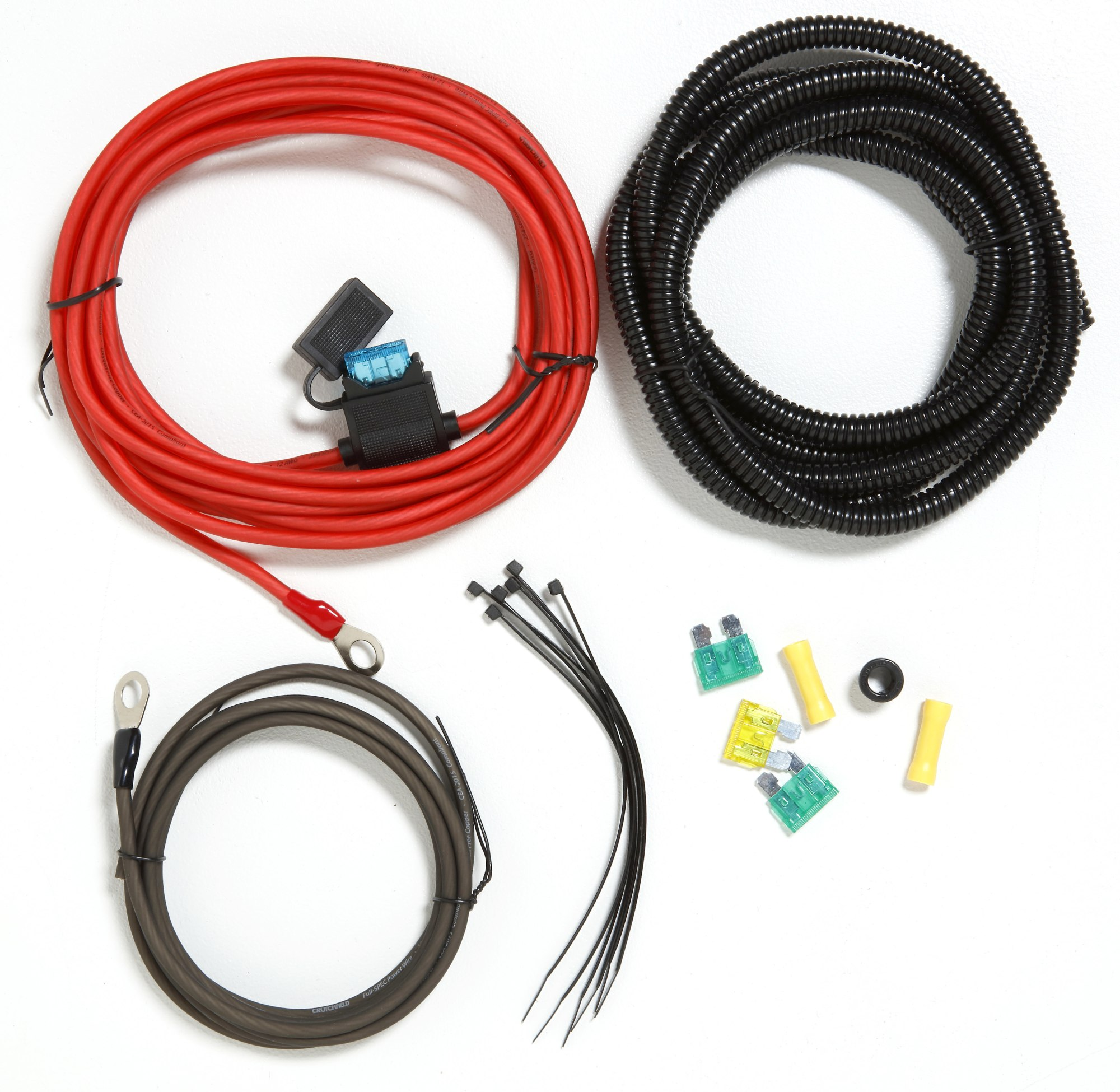 hight resolution of crutchfield ck12 12 gauge wiring kit for small compact amps and high power car stereos at crutchfield
