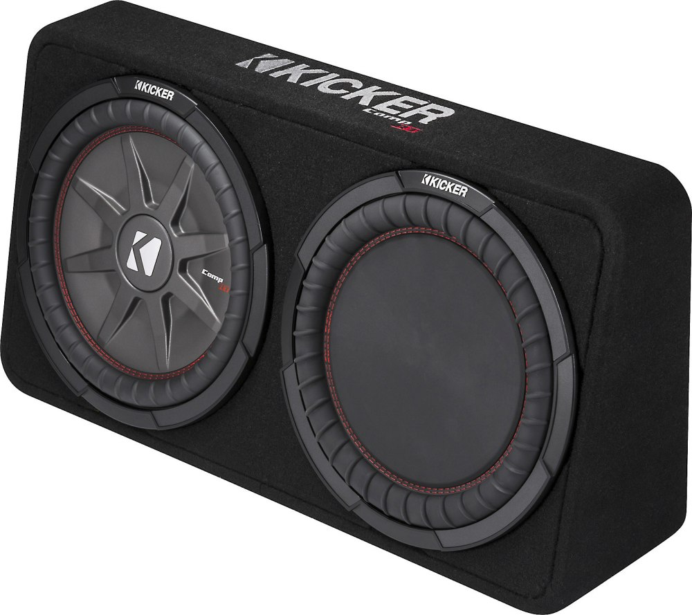 medium resolution of kicker comprt 43tcwrt124 enclosure with single 12 4 ohm subwoofer and passive radiator at crutchfield