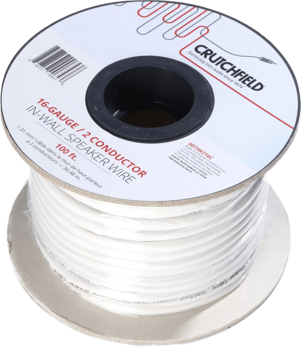 medium resolution of crutchfield in wall speaker wire 100 ft roll 16 gauge 2 conductor wire at crutchfield com