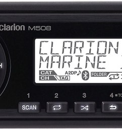 clarion m508 marine digital media receiver with bluetooth does not play cds at crutchfield [ 2647 x 824 Pixel ]