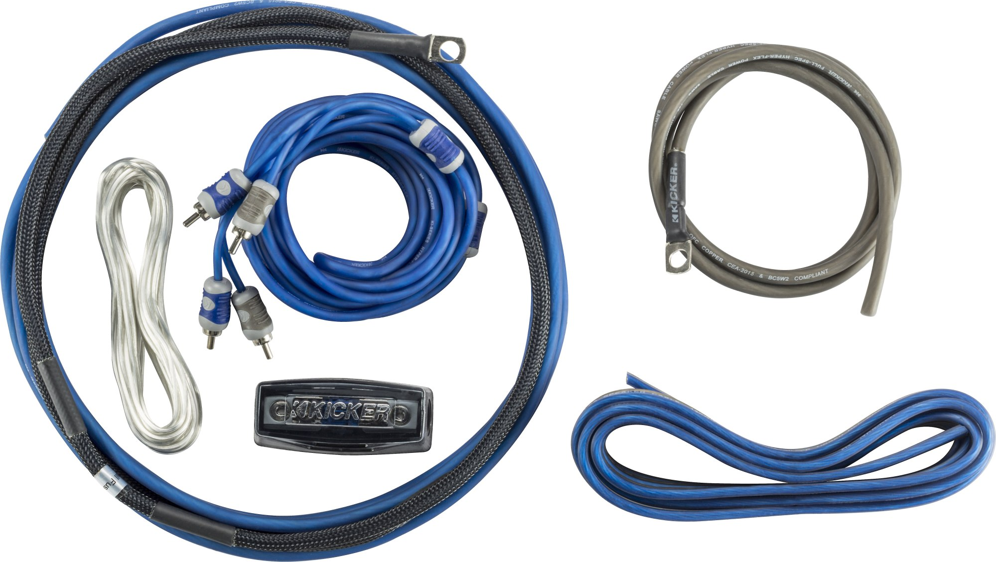 hight resolution of kicker 46ck8 complete 8 gauge amplifier wiring kit includes 2 channel patch cable and speaker wire at crutchfield com