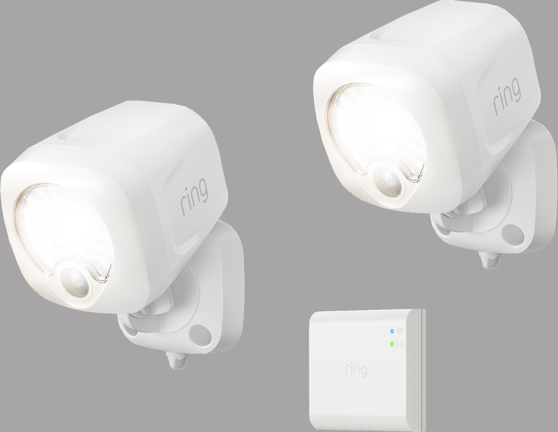 ring smart lighting spotlight 2 pack bridge white two battery powered led spotlights and hub that adds smart control at crutchfield