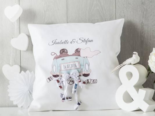 Personalisierbares Kissen als Geldgeschenk zur Hochzeit