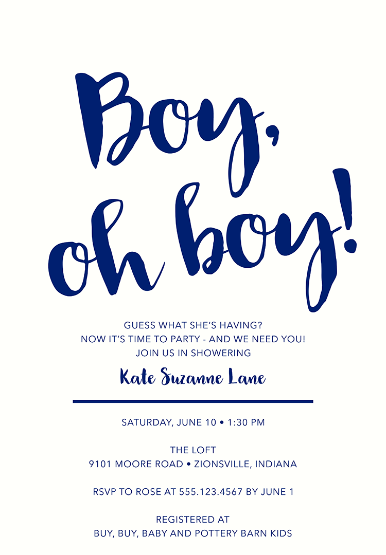 Baby Shower Invitation Wording for a Boy – 2