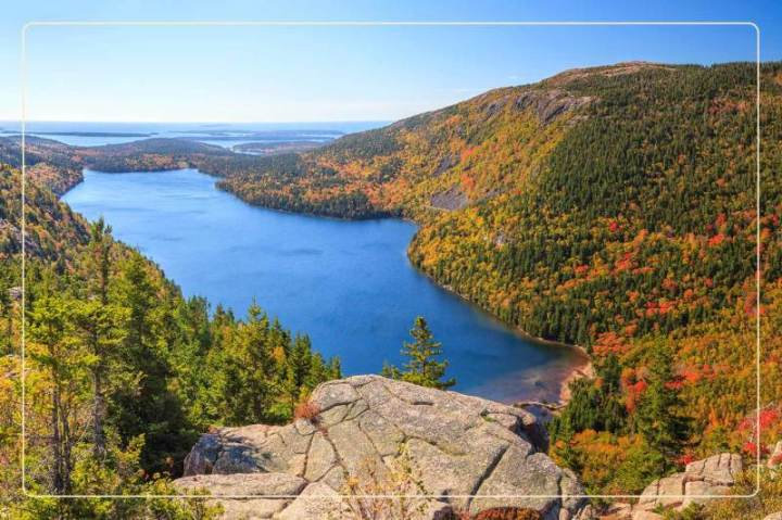 an aerial view of a lake surrounded by fall foliage at Acadia National Park, a dog-friendly national park where one can go hiking with dogs