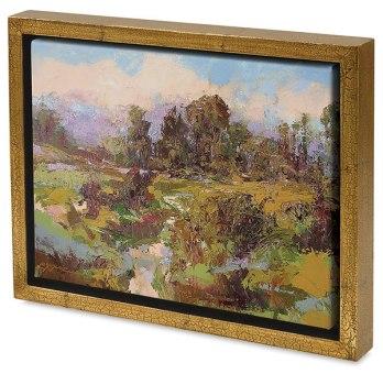Blick Wood Floater Frame, Gold Crackle Artwork by Sally Shisler