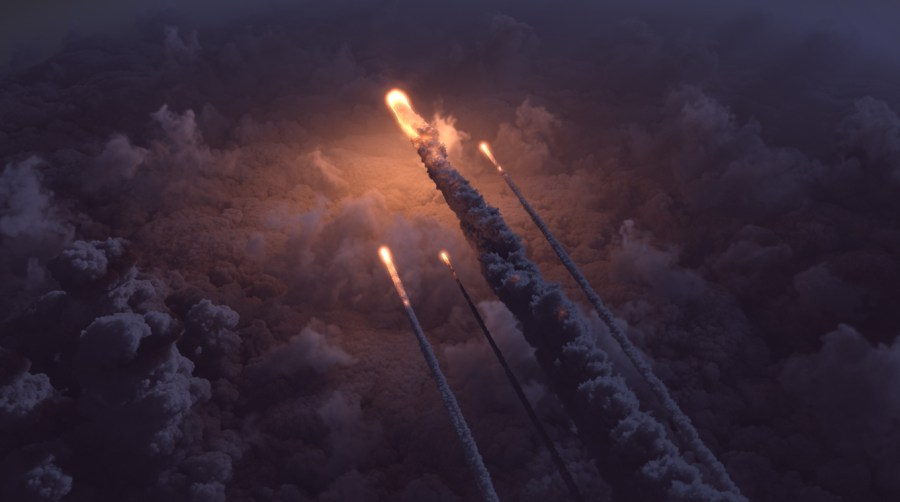 Balls of fire cross the sky