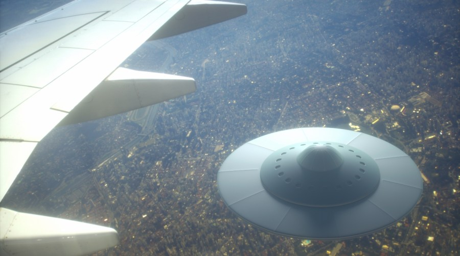 UFO under the wing of an aircraft