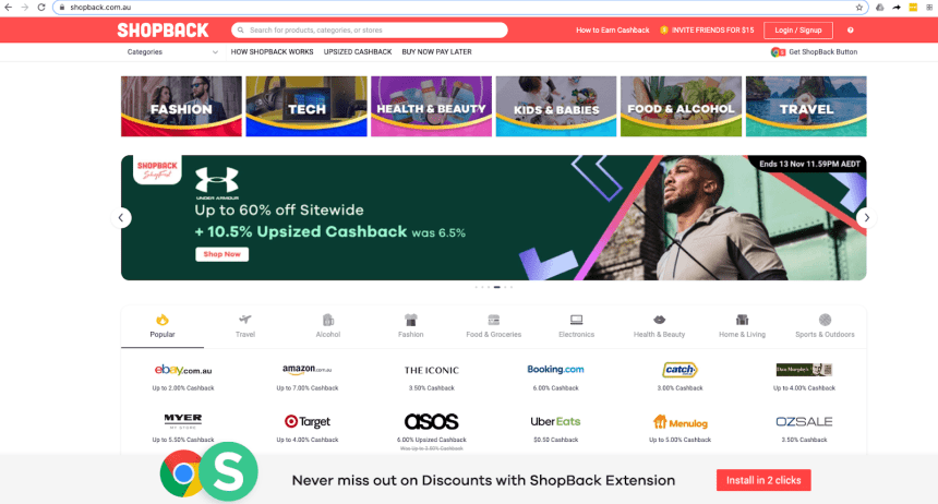 Shopback main page - with clothing front and centre